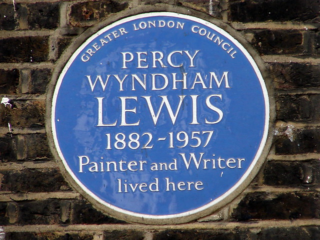 Percy Wyndham Lewis blue plaque - Percy Wyndham Lewis 1882-1957 painter and writer lived here