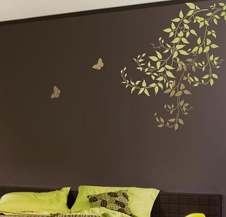Wall Stencils. Budding Clematis Vines.  Beautiful wall designs by Cutting Edge Stencils.