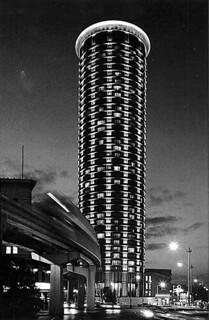 Washington Plaza Hotel at night, Seattle