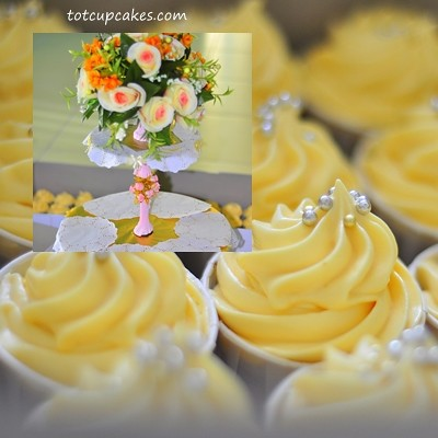 wedding cupcake tower orange yellow totcupcakescom by totcupcakes