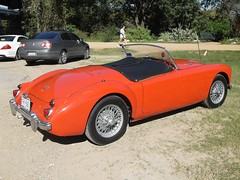 race car, automobile, vehicle, mg mga, classic car, vintage car, land vehicle, sports car,