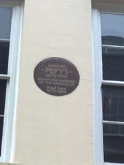 Photo of Samuel Pepys brown plaque