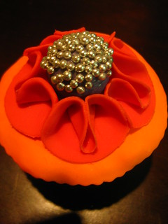 cupcake fashioned after a yummy fabric brooch