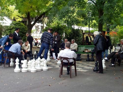 Giant Chess in Bastions Park Geneva Switzerland