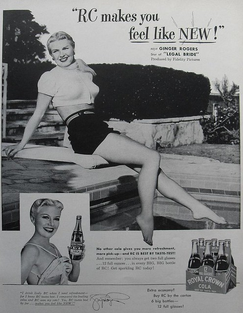 1947 ROYAL CROWN COLA  RC soda vintage advertisement Ginger Rogers Classic 1940s Hollywood starlet