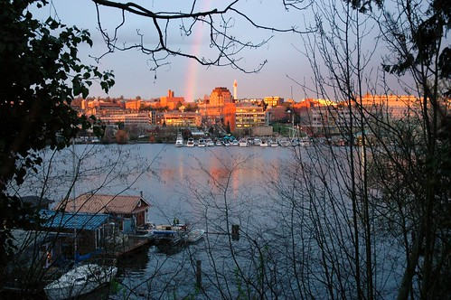 A rainbow over the University of Washington from the south side of Portage Bay, near the Montlake Cut, Seattle, Washington, USA by Wonderlane