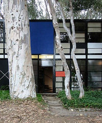 Main entry of the Eames House, Pacific Palisades, California.
