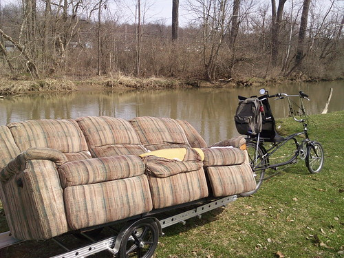 The best choice for hauling couches to use a Bikes-at-Work trailer, ...