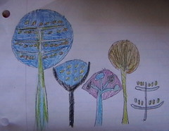 My son's designs for the trees.