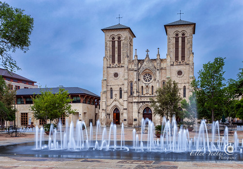 morning blue cloud building water architecture sanantonio sunrise canon ellen interesting catholic texas tour place roman outdoor mark iii visit tourist chruch mexican hour mission 1ds hdr sanfernandocathedral yeates founation canonmarkiii1ds ellenyeates