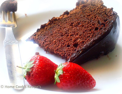 Chocolate Cake Slice with strawberries