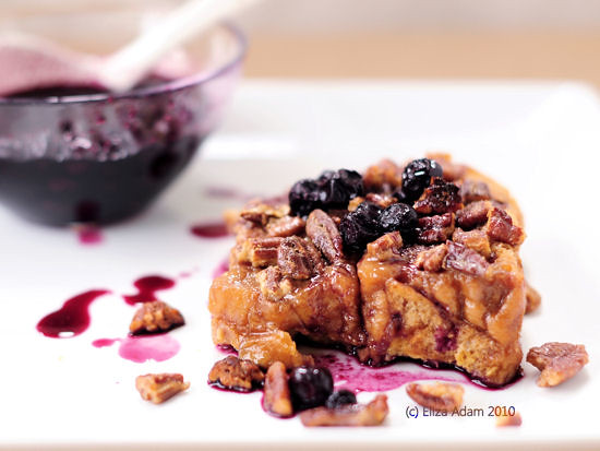 Baked butter-pecan French toast with blueberry syrup | Flickr - Photo ...