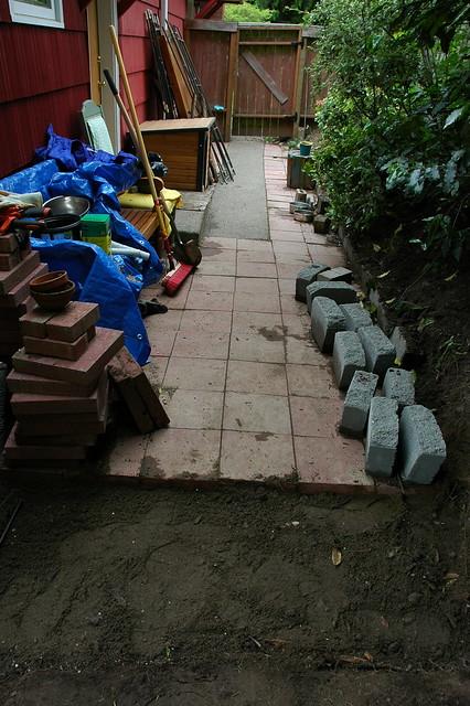Cement Backyard Dog :   Photoset Building Red Cement Brick Patio  Dog Run by Wonderlane