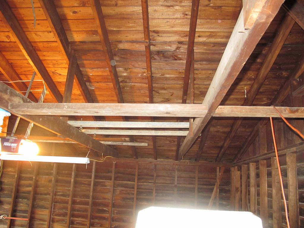 Detached garage raising ceiling rafters pics building for Raise garage door height