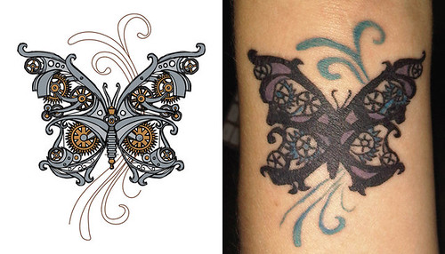 Jacqueline got this sweet steampunk tattoo based on the steampunk butterfly
