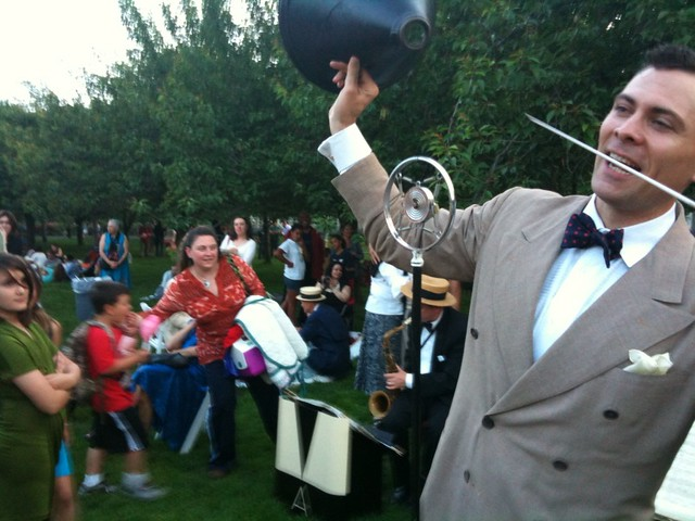 Michael Arenella & His Dreamland Orchestra say goodnight after a fantastic evening of picnicking and dancing on Cherry Esplanade. Photo by Joshua Casey.
