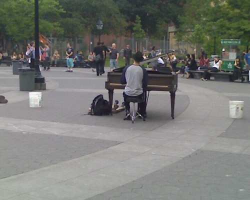 random pianist in Washington Square Park