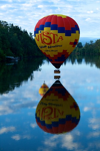 Hot air balloons reflected in the Willamette