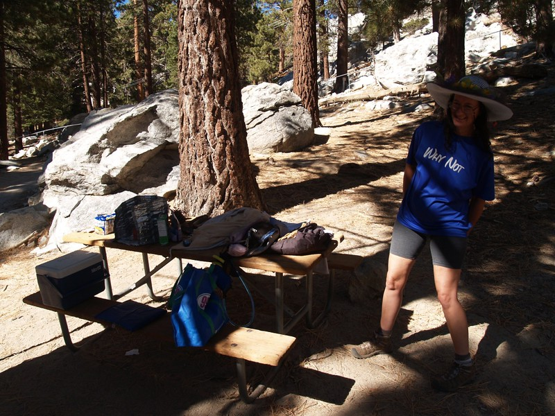 Vicki, waiting for me at a table below the Upper Tram Station. She had a stove and food ready to eat!