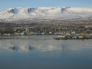 The town of Akureyri with the mountains behind