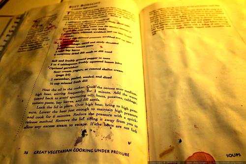 beet stained beet borscht recipe in the vegetarian cooking under pressure cookbook