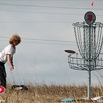 Carl Spencer putts on hole #3 at the 2005 Ice Bowl at West Arvada Disc Golf Course.