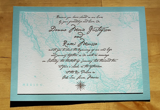 Letterpress Destination Wedding Invitation Mexico