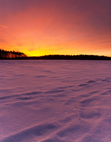 winter sunset sky lake snow ice landscape evening frozen nh