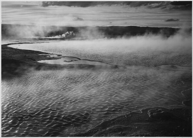 """Surface of water presents a different texture in, """"Fountain Geyser Pool, Yellowstone National Park,"""" Wyoming."""