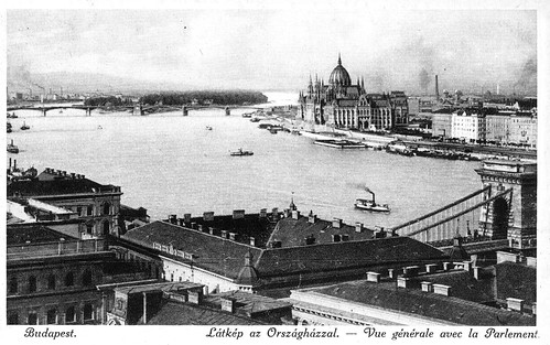 Old postcards of Budapest – View with the parliament