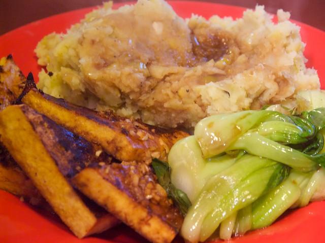 leek-mashed potatoes, wine-broiled tofu, spicy sesame-braised bok choy