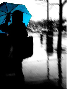 blue motion blur rain boston umbrella brookline iphone