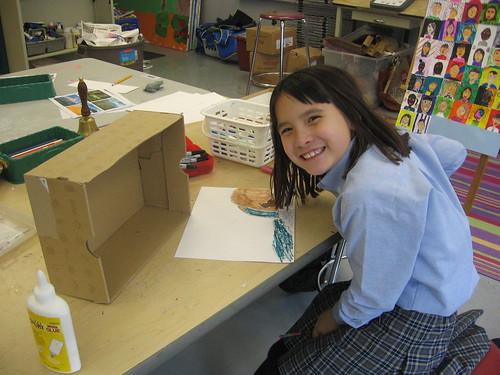 Bullis 3rd grader creating her Buddy Bison diorama