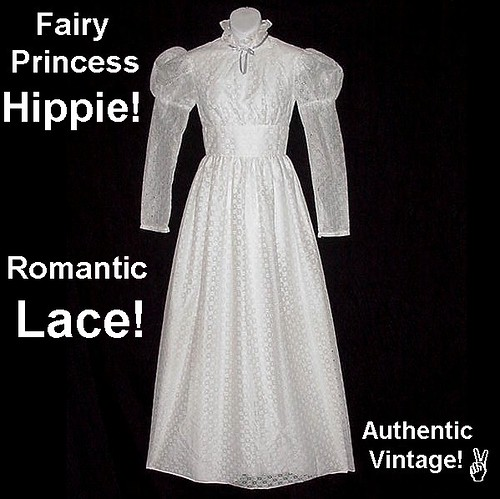 Vintage Bohemian Wedding or Prom Dress White Fairy Princess Maxi Floor