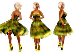 gown(0.0), dance dress(1.0), clothing(1.0), yellow(1.0), cocktail dress(1.0), costume design(1.0), dance(1.0), costume(1.0), illustration(1.0), dress(1.0), adult(1.0),
