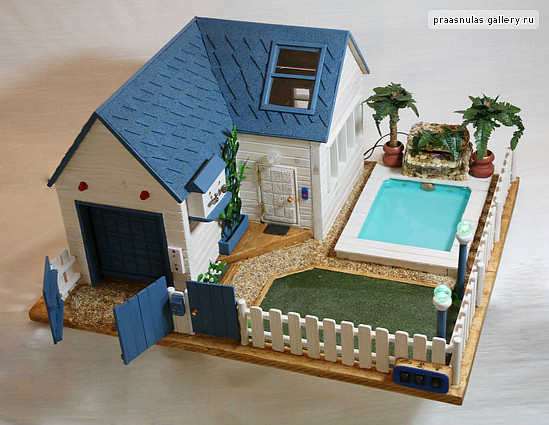 Wooden Dollhouse With A Swimming Pool The Garage Rollets Flickr Photo Sharing