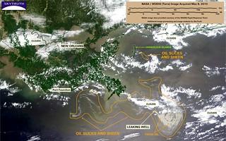 Deepwater Horizon Oil Spill – MODIS/Terra Detail (with interpretation), May 8, 2010