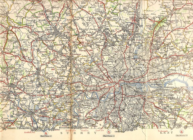 London area road map - Michelin map, c1925