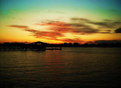 ocean sunset beach dock north carolina beachhouse waterway intercoastal