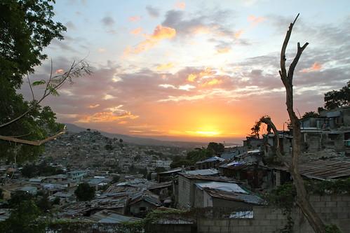 sunset haiti slum portauprince