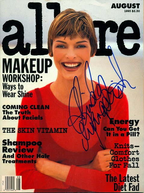 August 1993, Autographed Allure Magazine by Linda Evangelista