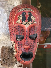 masque, red, head, mask,