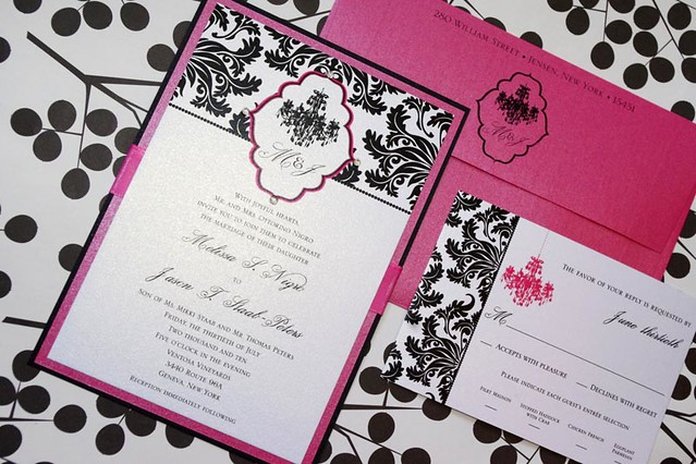 Chandelier Wedding Invitations: Chandelier Damask Wedding Invitation