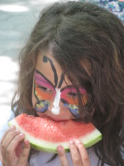 watermelon, nose, face, hairstyle, lip, head, produce, fruit, food, mouth, eating, organ,