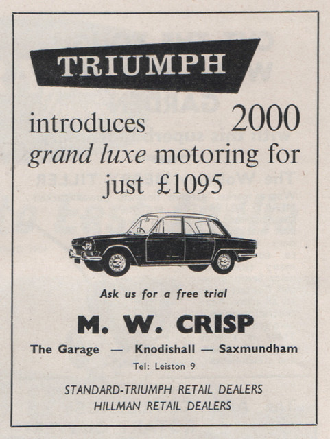 Triumph 2000 ad 1964 - M.W. Crisp, Knodishall