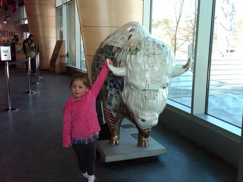 Friend with Bison sculpture