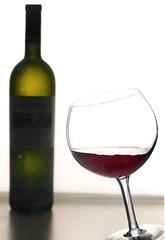 wine glass, glass bottle, wine, drinkware, stemware, bottle, tableware, glass, red wine, drink, wine bottle, alcoholic beverage,