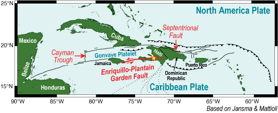Map of the Caribbean and North American Crustal Plates