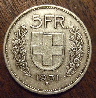SWITZERLAND 1931 ---5 FRANCS a