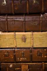 brown, baggage, trunk, antique, suitcase,